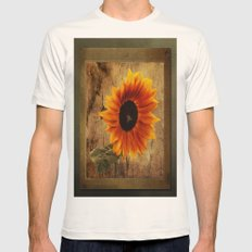 Vintage Sunflower Framed Mens Fitted Tee Natural SMALL