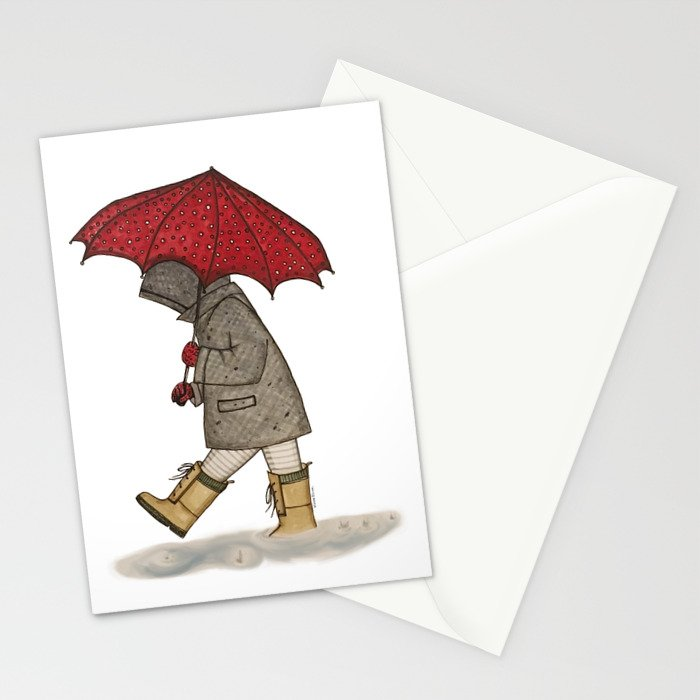 Playing in the Rain Stationery Cards