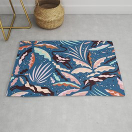 Exotic Wilderness on Blue / Panthers and Plants Rug