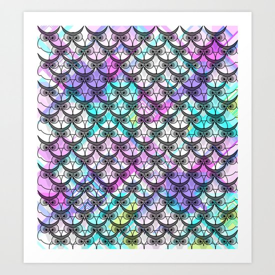 Frowning owls Art Print