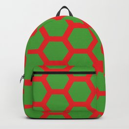 Red on Green Holiday Honeycomb Modern Design Backpack