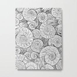 Ammonite Fossil Pattern Metal Print