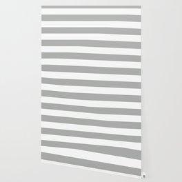 Silver foil - solid color - white stripes pattern Wallpaper