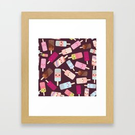 summer ice cream, ice lolly  Kawaii with pink cheeks and winking eyes Framed Art Print