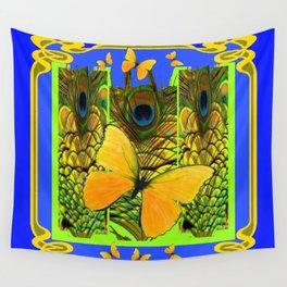 BLUE ART NOUVEAU YELLOW BUTTERFLIES GREEN ART Wall Tapestry