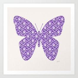 Lilac Lavender Lace Floral, Spring Flower Blossom Pattern Illustration Art Print