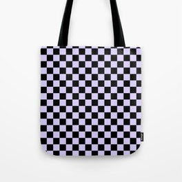 Black and Pale Lavender Violet Checkerboard Tote Bag