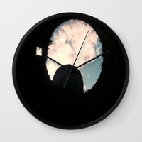 castle in the sky Wall Clocks featuring Sky Castle  by Ambers Vintage Find