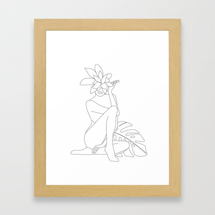 Minimal Line Art Woman with Tropical Leaves Framed Art Print