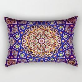 N80 - Traditional Moroccan Geometric Art Floral Mandala. Rectangular Pillow