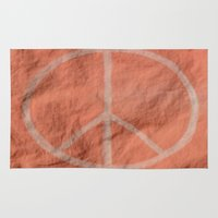 tote bag Area & Throw Rugs featuring Peach Peace Sign (Bag Art) by Aries Art