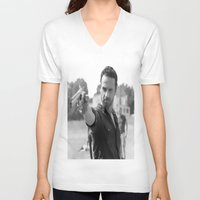 rick grimes V-neck T-shirts featuring Rick Grimes by OliGilbert