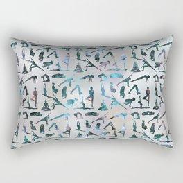 Yoga Asanas / Poses Sanskrit Word Art  Labradorite on pearl Rectangular Pillow