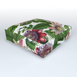 Vintage & Shabby Chic- Retro Passiflora Pattern Outdoor Floor Cushion