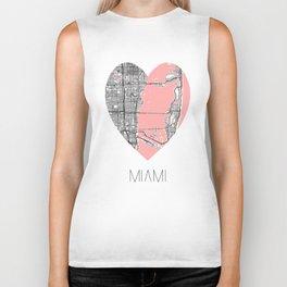 Miami Map Heart Shape Biker Tank