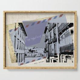 Porto, retro post card Serving Tray
