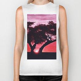 Cherry Blossom Sunset Biker Tank