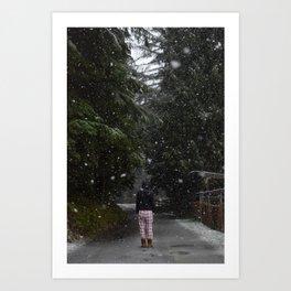 Pajamas in the Snow - Silverdale, Washington State Art Print