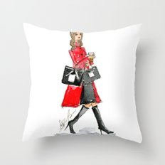 Walking Out of 5th Avenue Fashion Illustation by Elaine Biss Throw Pillow