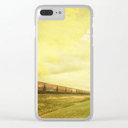 Freight Train And Sunflowers Double Exposure Clear iPhone Case