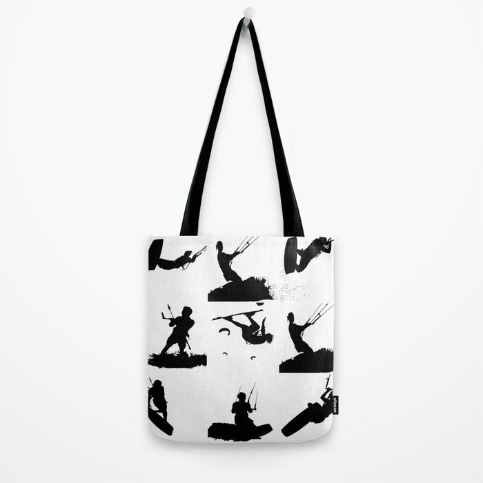 Wakeboarder Silhouette Collage Tote Bag