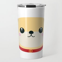 Cute puppy Dog with red collar Travel Mug