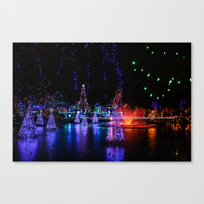 frozen pond lights Canvas Print