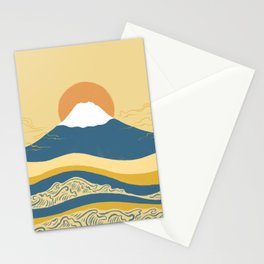 Abstraction landscape minimalist Mount Fuji the great wave ocean Stationery Cards
