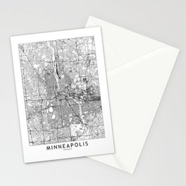 Minneapolis White Map Stationery Cards
