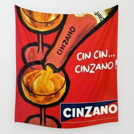 1955 Vintage Cinzano Advertisement Poster Wall Tapestry