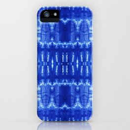 tie dye ancient resist-dyeing techniques Indigo blue textile abstract pattern iPhone Case