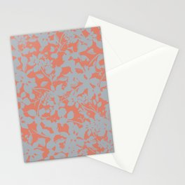 Floral Silhouette Pattern - Broken but Flourishing in Coral Stationery Cards