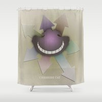 cheshire cat Shower Curtains featuring Cheshire Cat by coalotte