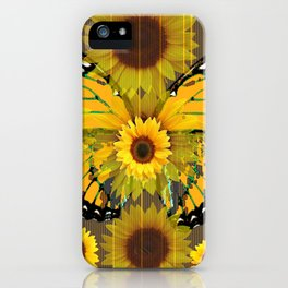 SUNFLOWER BOTANICALS YELLOW MONARCH BUTTERFLY iPhone Case