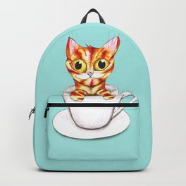 Striped coffee cat Backpack