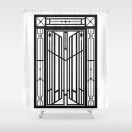 Abstract Geometric Door (Greek Mountain Village) – Black/White Shower Curtain