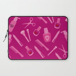 Beauty Accessories with Love Hearts over Magenta Background Laptop Sleeve