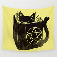 witchcraft Wall Tapestries featuring Witchcraft Cat by Tobe Fonseca