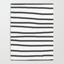 Simply Drawn Stripes in Simply Gray Poster