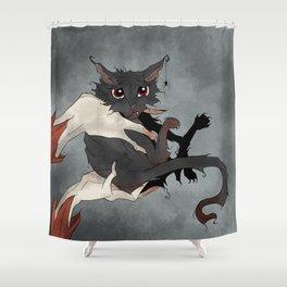 Naughty Vampire Cat Shower Curtain