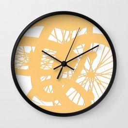 Bike wheels in yellow Wall Clock