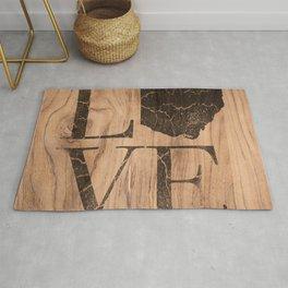 Ohio Map Home Love Vintage Wood Sign Rug