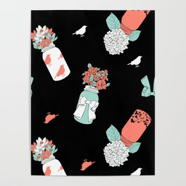 Coral Mint Mason Jars Poster