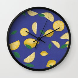 Lemons with blue background pattern Wall Clock