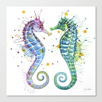 seahorse Canvas Prints featuring Seahorse by Sam Nagel