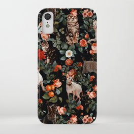 Cat and Floral Pattern II iPhone Case