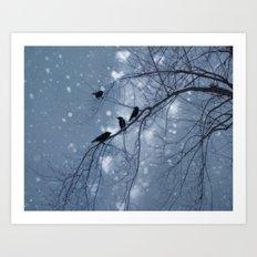 Hearts and Snowflakes Art Print
