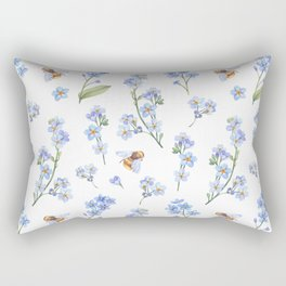 Cute hand painted brown bee lavender watercolor floral Rectangular Pillow