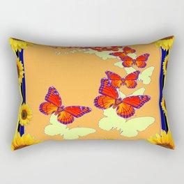 Monarch Butterflies Sunflowers Cumin Color & Yellow Art Rectangular Pillow