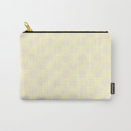 Pink Lace on Cream Yellow Spirals Carry-All Pouch